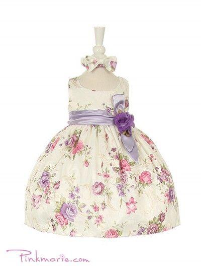 Lilac Elegant Classy Flower Printed Jacquard Baby Girl Dress