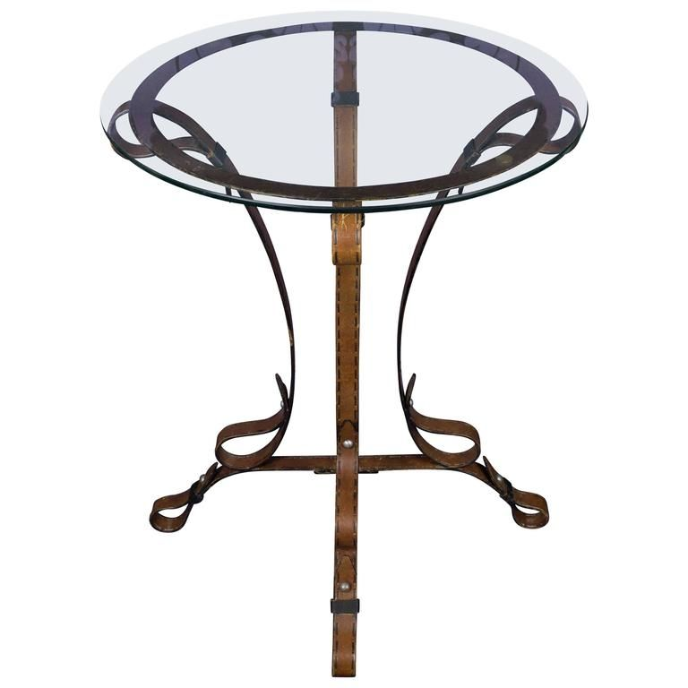 Unique French Leather Wrought Iron Table With Glass Top Iron