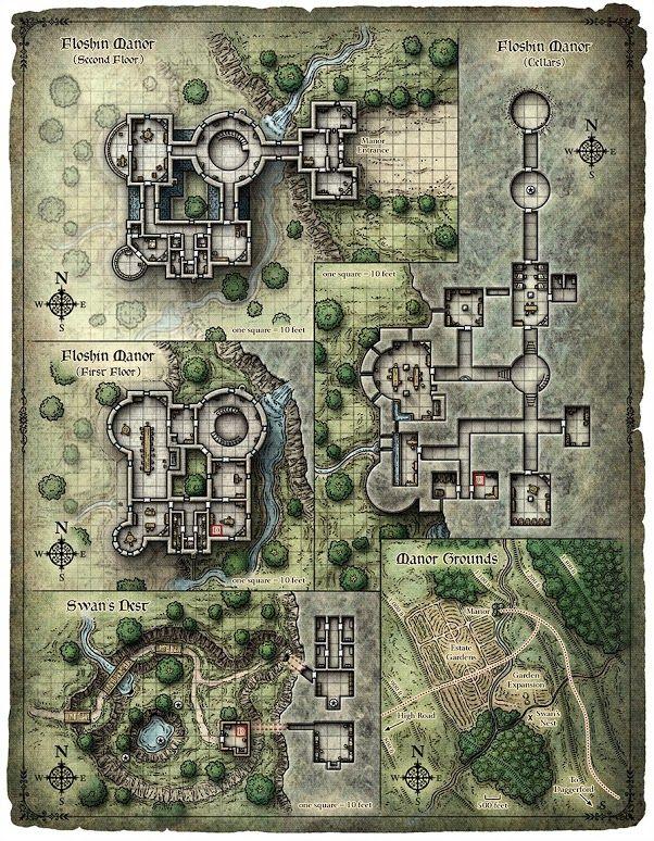 Floshin Manor RPG Map … | D&D / Pathfinder / RPG | Pinterest | RPG ...