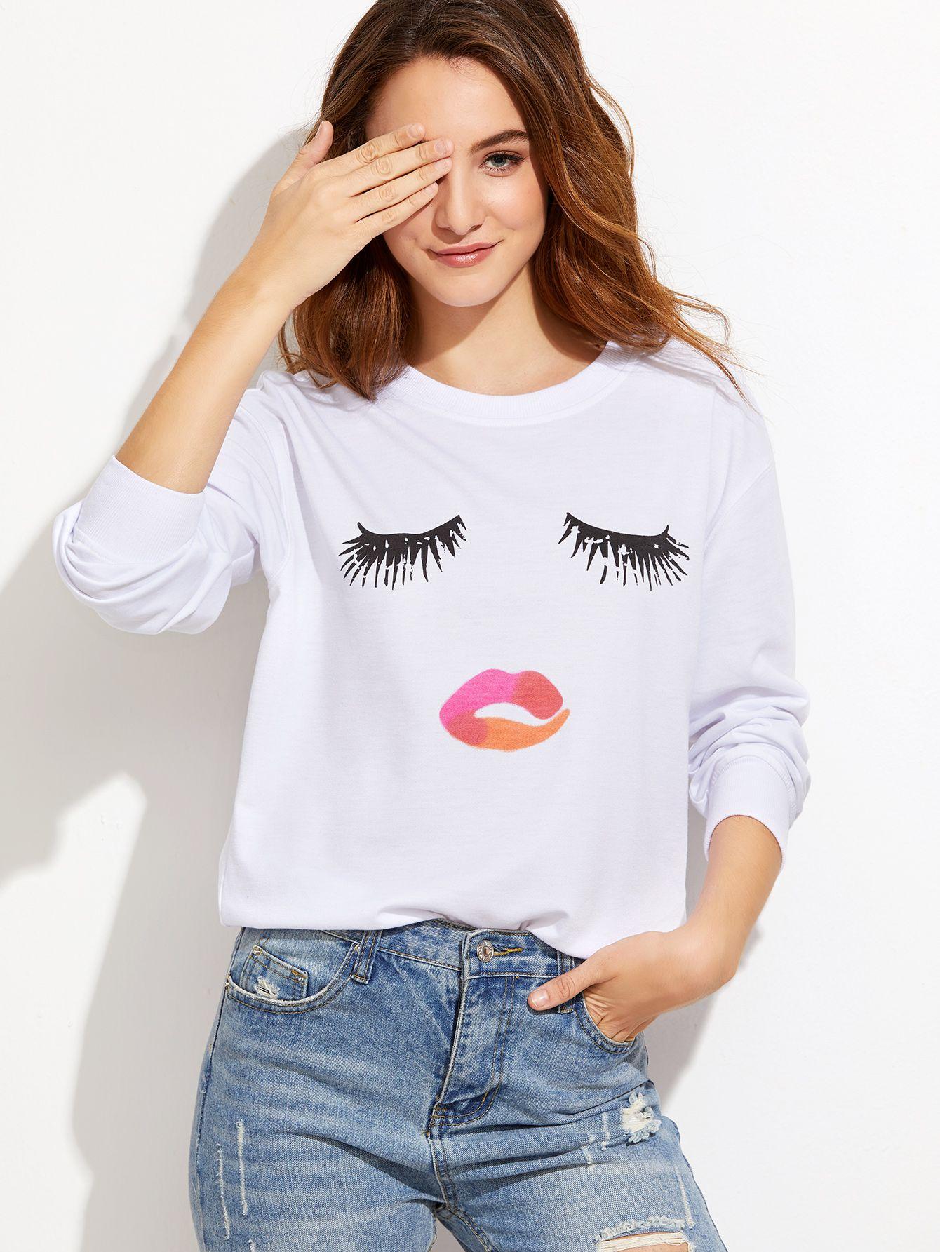 8b1759efd7 Shop White Closed Eyes Print Drop Shoulder Sweatshirt online. SheIn offers  White Closed Eyes Print Drop Shoulder Sweatshirt & more to fit your  fashionable ...