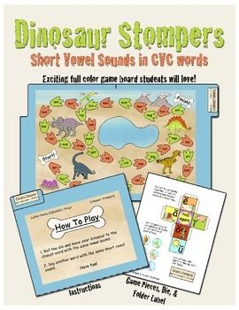 Students will love this dinosaur phonics/word work game! This game helps students practice identifying short vowel sounds in CVC words.