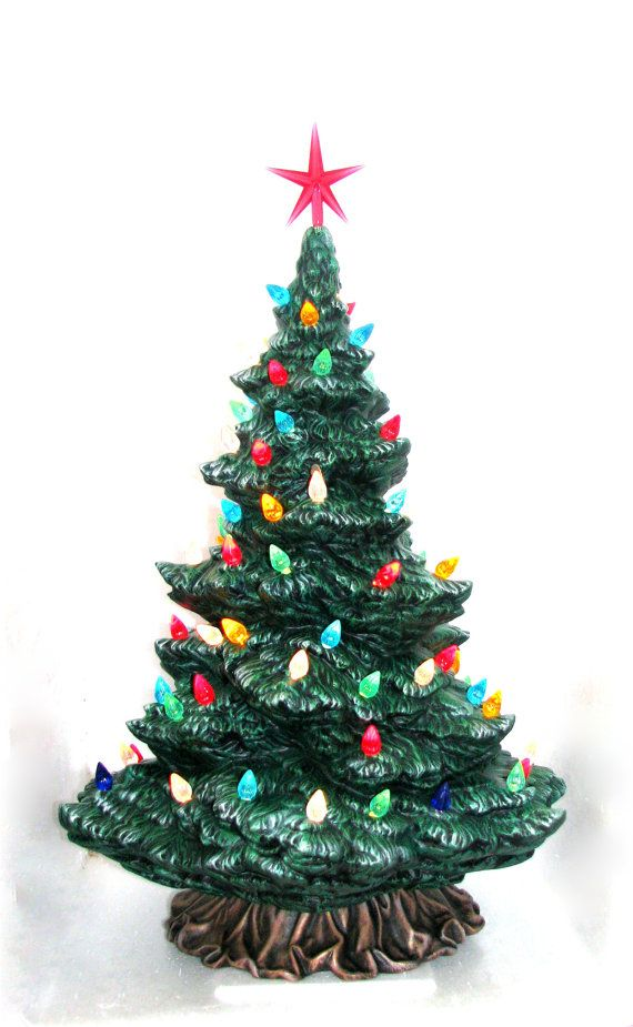 Large Modern Ceramic Christmas Pine Tree 17 5 Inches Tall With Base