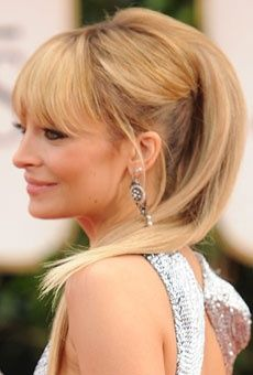 Nicoles Rocker Inspired Ponytail Front Bangs Teased Volume Long Straight Hair Hochzeitsfrisuren Hochzeitsfrisuren Lange Haare Lange Haare
