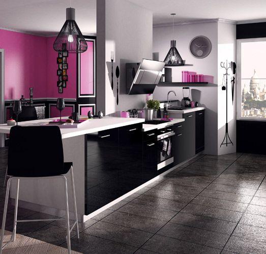 une cuisine noire pour une déco lumineuse   kitchens