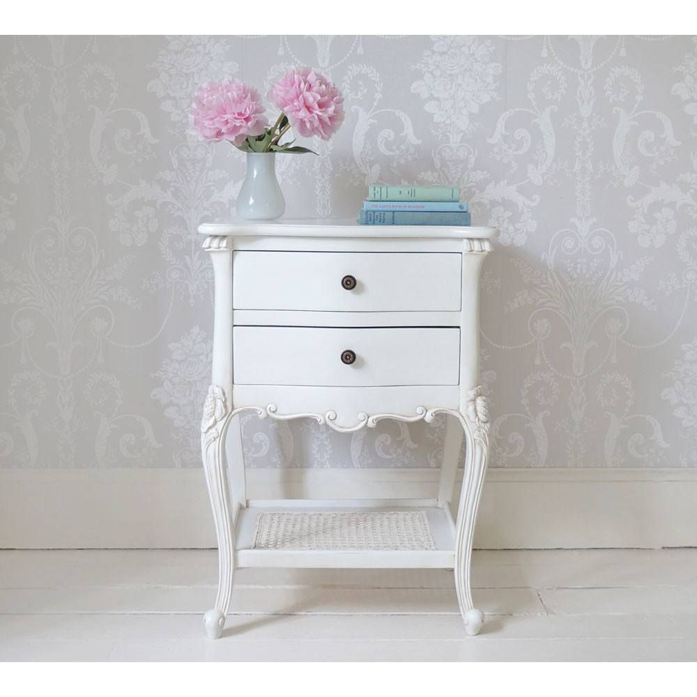 Best Provencal 2 Drawer White Rattan Bedside Table Furniture 400 x 300