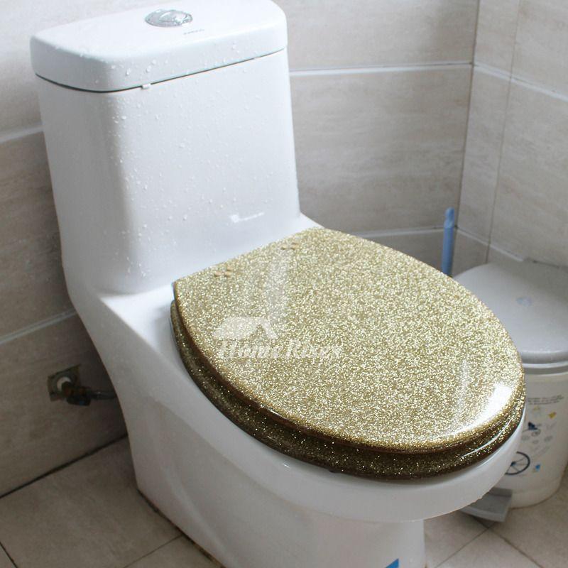 Gold Toilet Seat Glitter Resin Decorative Novelty Fancy Luxury Solid Toilet New Toilet Toilet Seat