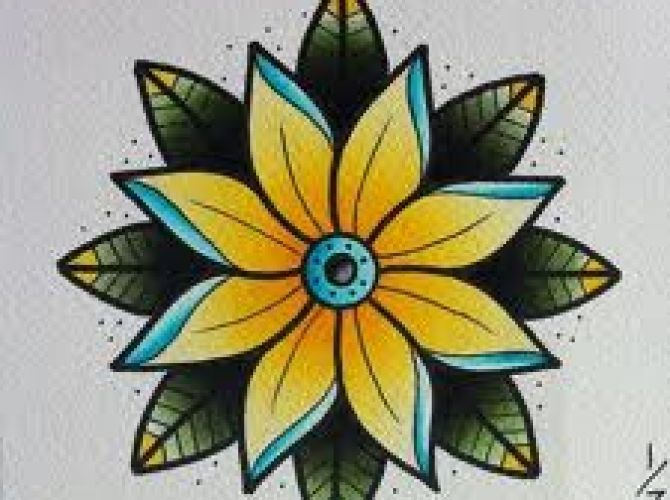 old school flower tattoos | Old School Flower Tattoo Designs