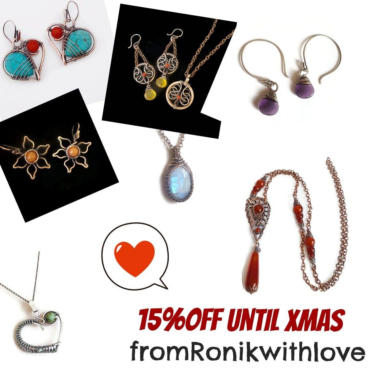 Christmas sale, jewelry on sale, gemstone jewelry, wire wrap jewelry ...