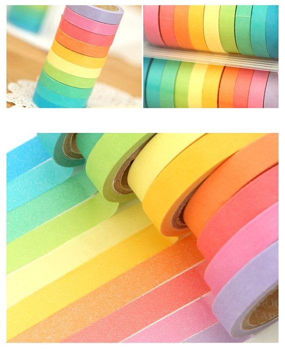 10Rolls  DIY Paper Sticky Scrapbooking Adhesive Sticker Decorative Washi Tape