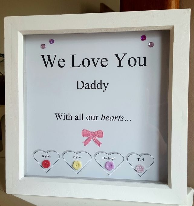 Beautifully hand personalised Wooden Box Frame for fatheru0027s day or as a spwcial birthday gift. Personalised to any names. Sturdy well made White ... & Personalised Wooden Box Frame for Fatheru0027s Day. Daddy. Grandad ... Aboutintivar.Com