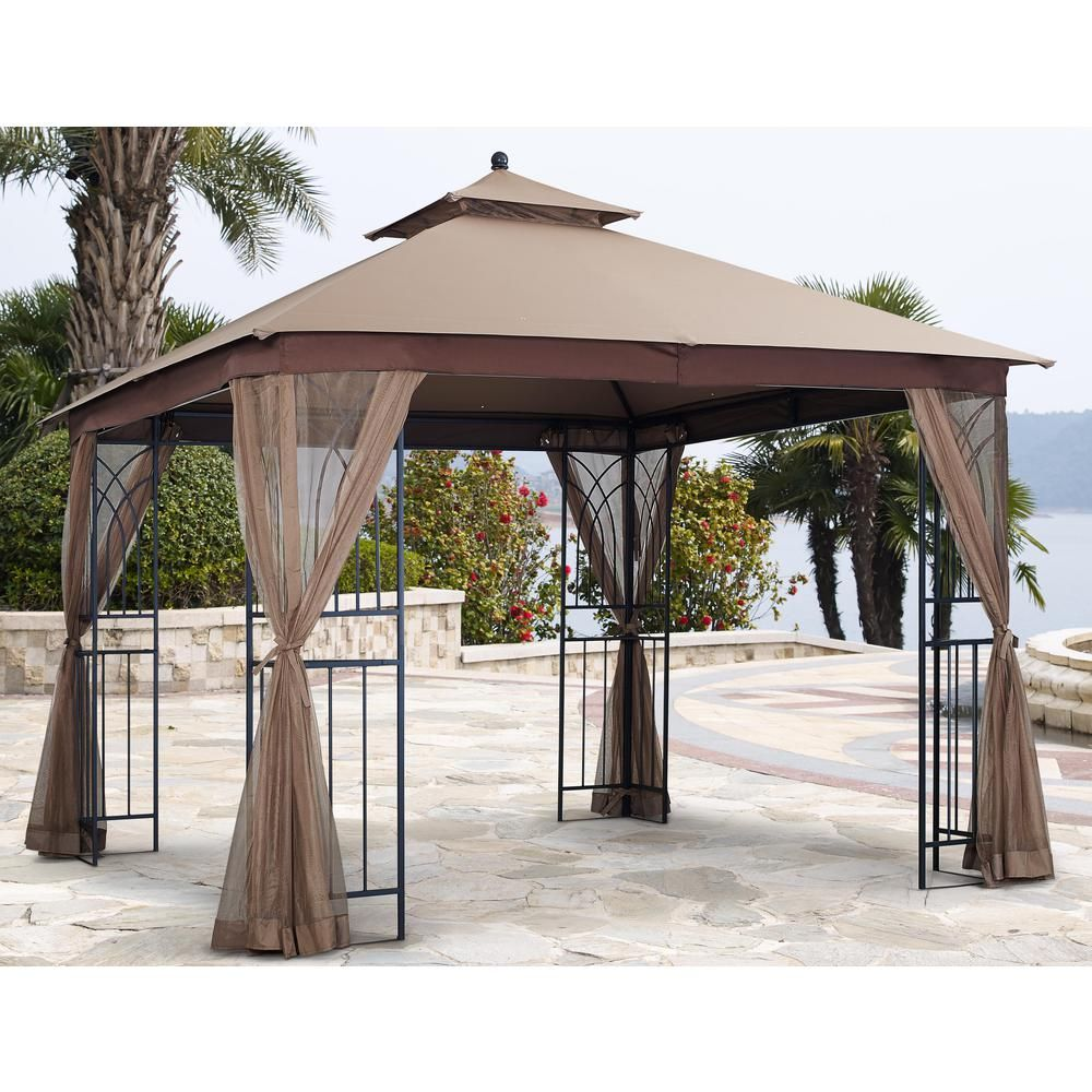 Hampton Bay 10 Ft X 12 Ft Turnberry Outdoor Patio Gazebo With Mosquito Netting And Private Curtain L Gz933pco L The Home De In 2020 Patio Gazebo Gazebo Patio Decor