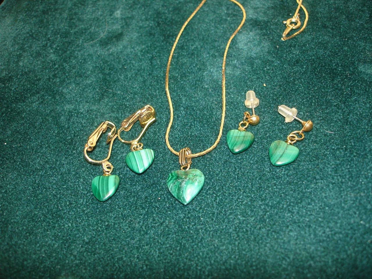 Malachite Necklace and 2 sets Earrings Gold by lapidarydreams2, $12.00