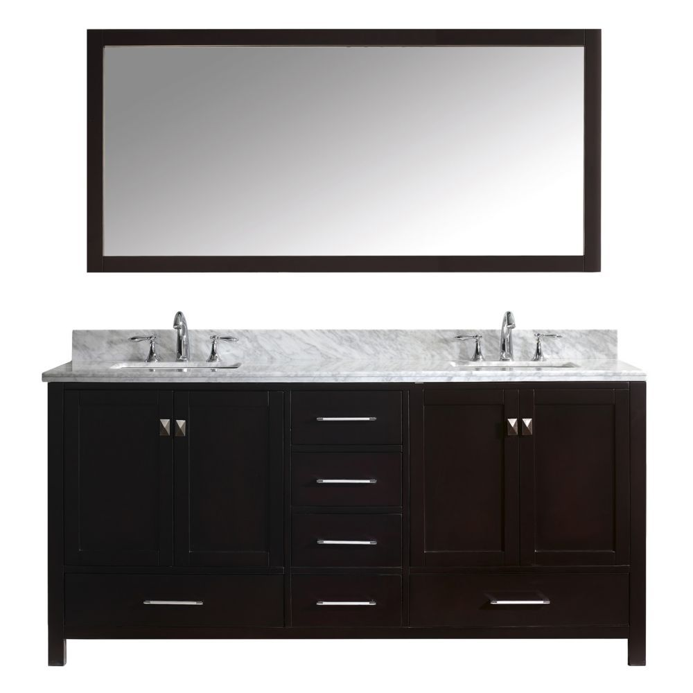 Caroline Avenue 72 Inch Double Vanity In Espresso With Marble Top