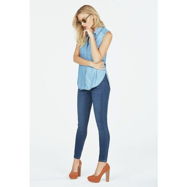 Justfab Super Skinny Ultra Stretch Skinny ($40) ❤ liked on Polyvore featuring jeans, blue, stretch jeans, skinny fit jeans, white super skinny jeans, white stretch jeans and embellished skinny jeans