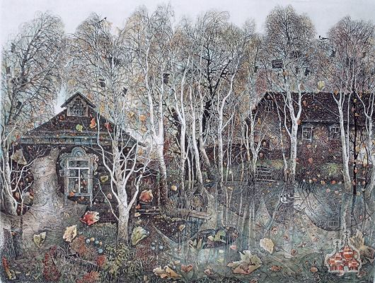 My Childhood Place, colored etching by Alexander Vetrov, from Russia with Art Gallery