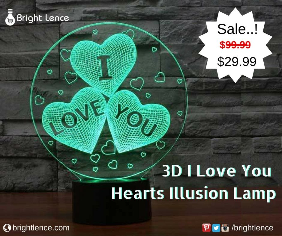 I Love You Hearts 3d Illusion Lamp 3d Illusion Lamp Illusions 3d Led Lamp