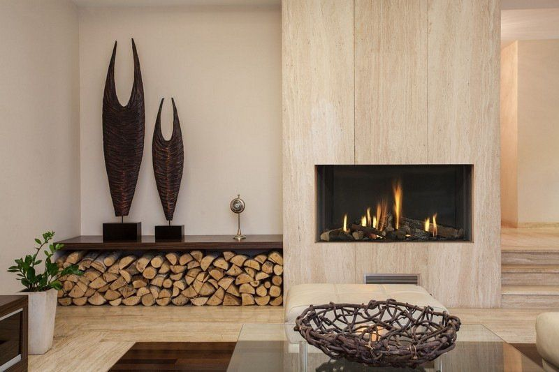 Rangement bois de chauffage pour l int rieur en 55 id es chemin e sculptur - Rangement bois de chauffage interieur ...