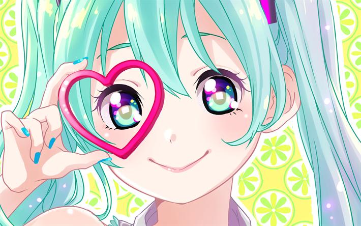 Lataa kuva 4k, Hatsune Miku, muotokuva, anime, tyttö, Miku Hatsune, manga, Vocaloid