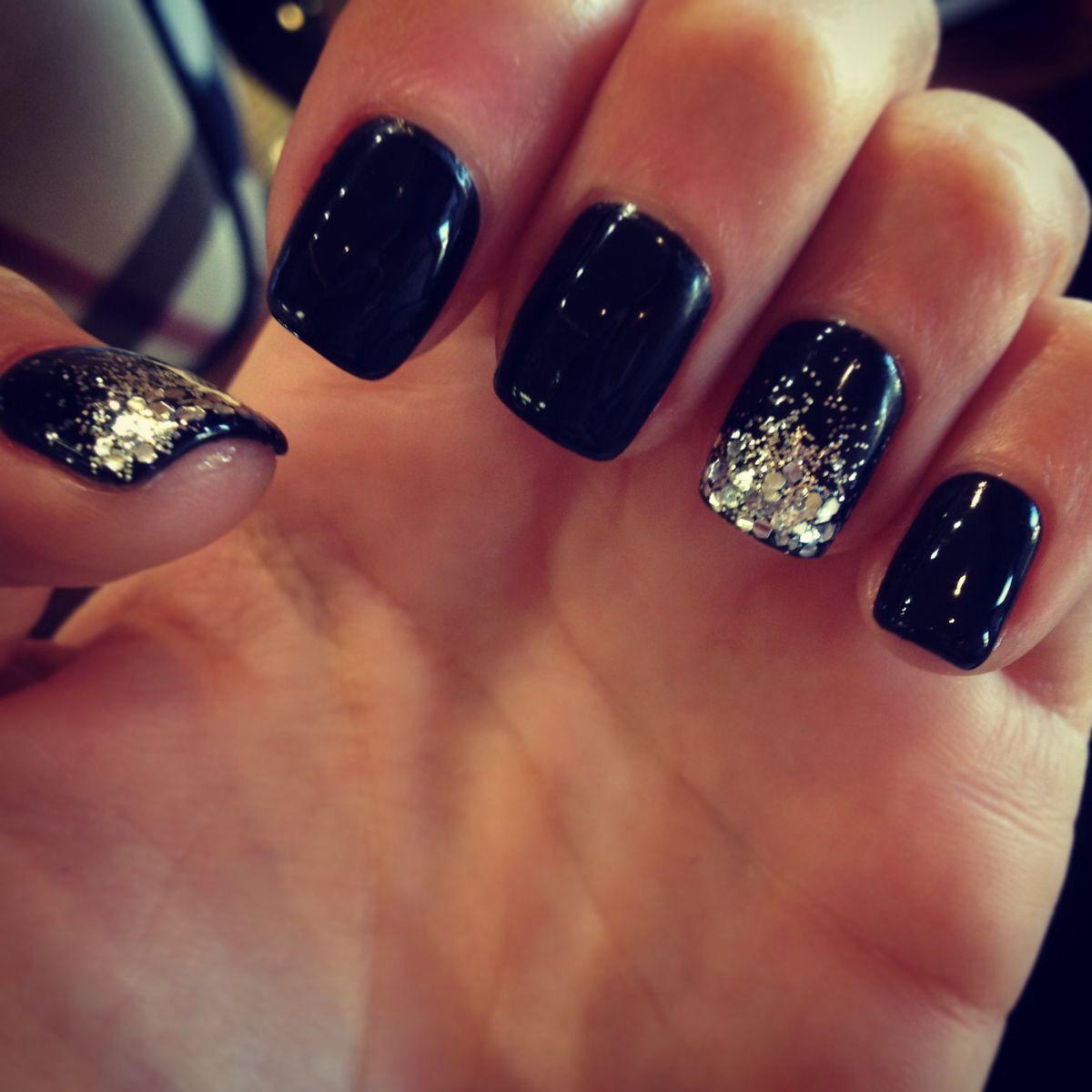 Black Nails Silver Glitter Tip Accent Nails Cute Nails Prom Nails Black Nail Designs