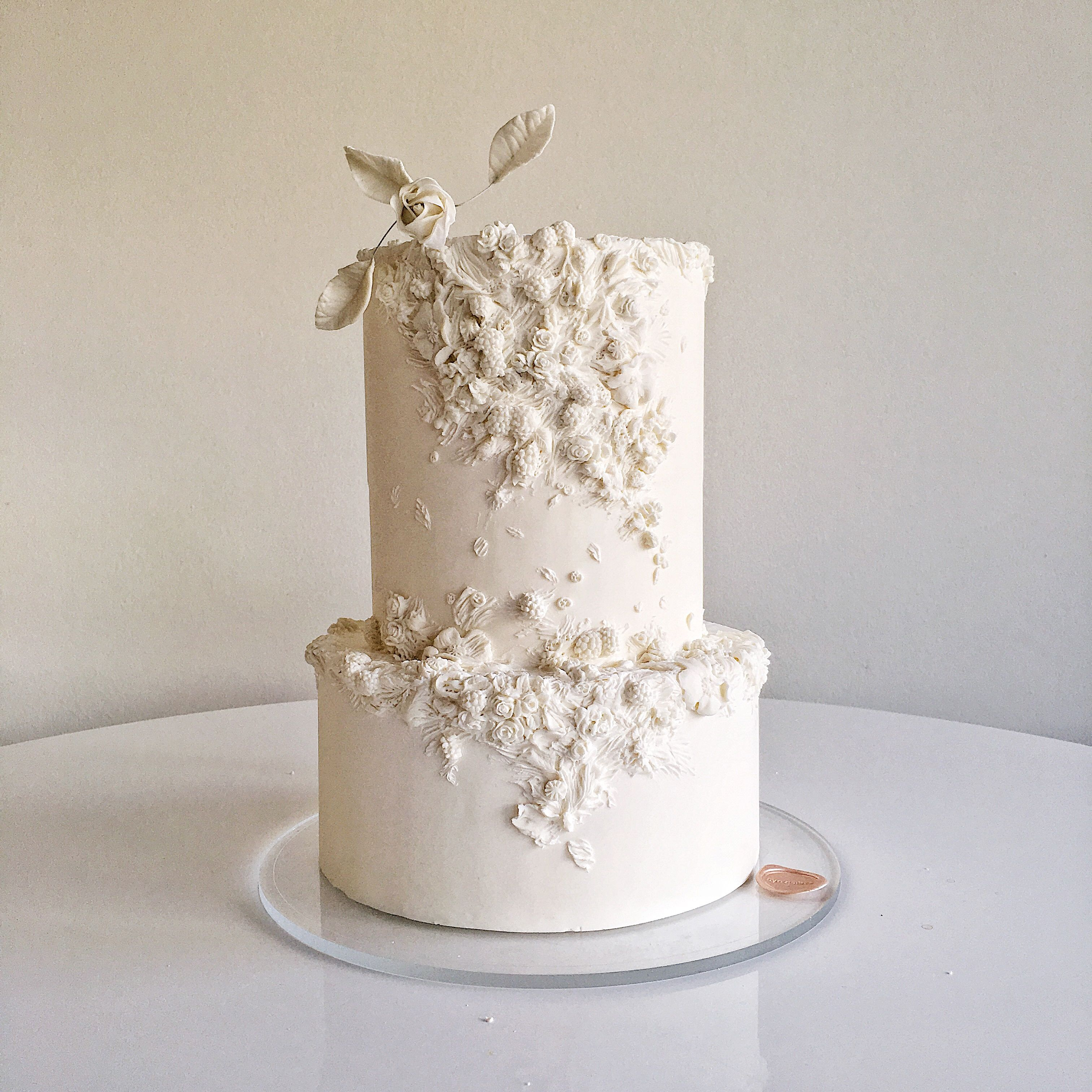 All Ivory Textured Wedding Cake On Satinice Com Cynz Cakes