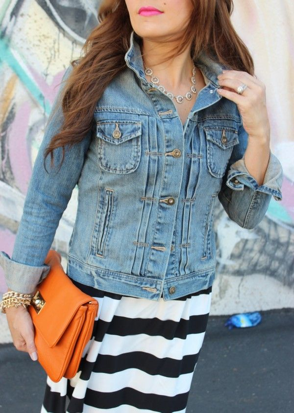 Buttoned Up Denim Jacket Over A Dress Fashion Denim Top Fashion Outfits