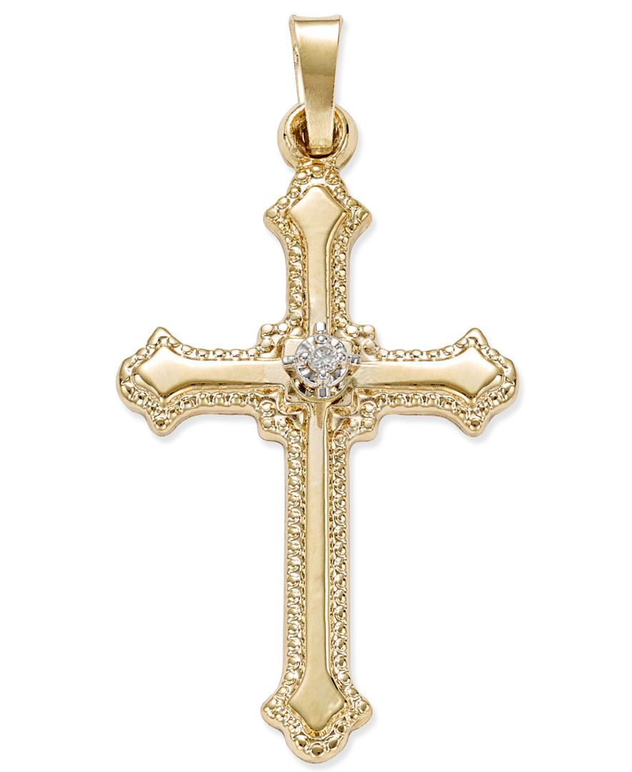 Diamond accent beaded edge cross pendant in 14k gold pinterest beautifully beaded edges and a center diamond accent add graceful style to this 14k gold cross pendant approximate drop 1 photo may have been enlarged mozeypictures Image collections
