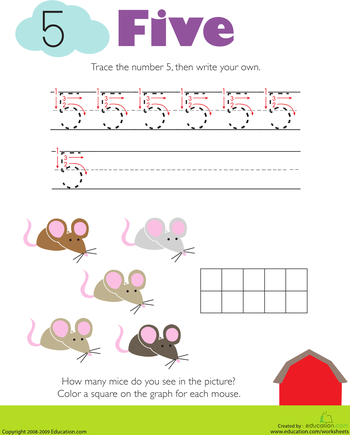 Tracing Numbers & Counting 5   Worksheet   Education.com ...