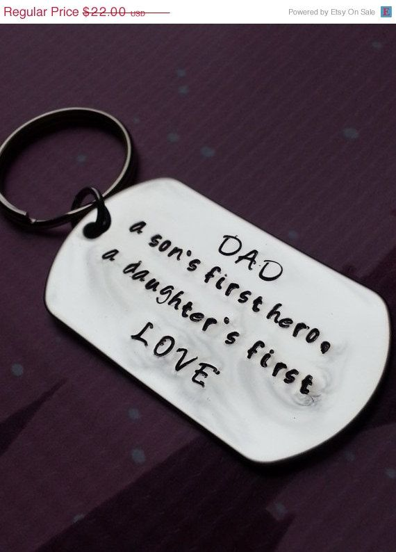 Hand stamped personalized dad keychain daddy a sons first hero a daughters first love personalized dog tag