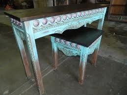 Western Turquoise Sofa And End Tables With Conchos Southwestern Home Decor Western Decor Home Decor