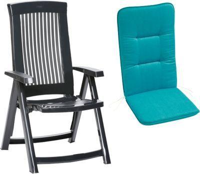 Kunststoff Klapp Gartenstuhl ´´Elisa Uni´´ mit Polsterauflage blau ...