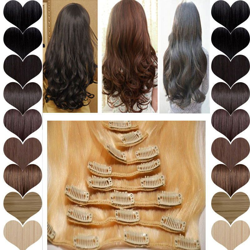 8 Piece Klip Real Hair Extensions Penuh Kepala Sorot Brown Blonde 17