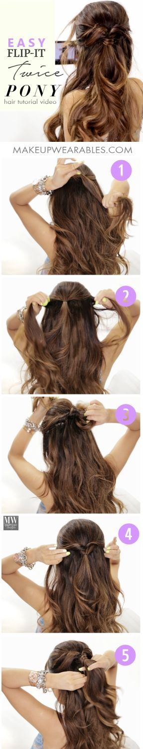 3 Minute Lazy Hairstyle Double Flip Half Updo Hair Tutorial