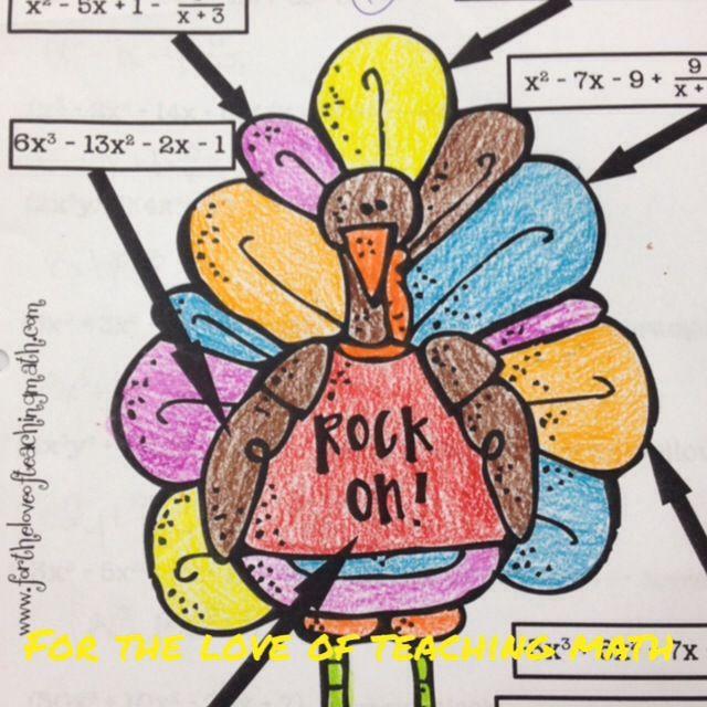 the polynomial turkey middle school math teaching math high school algebra algebra activities. Black Bedroom Furniture Sets. Home Design Ideas