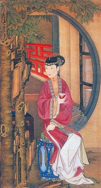 "十二美人圖。雍親王題書堂深居圖屏『桐蔭品茶』,1709-1723。""The Twelve Beauties,"" ""Twelve Concubines of the Emperor Yongzheng""#9"