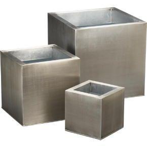 Galvanized square planters