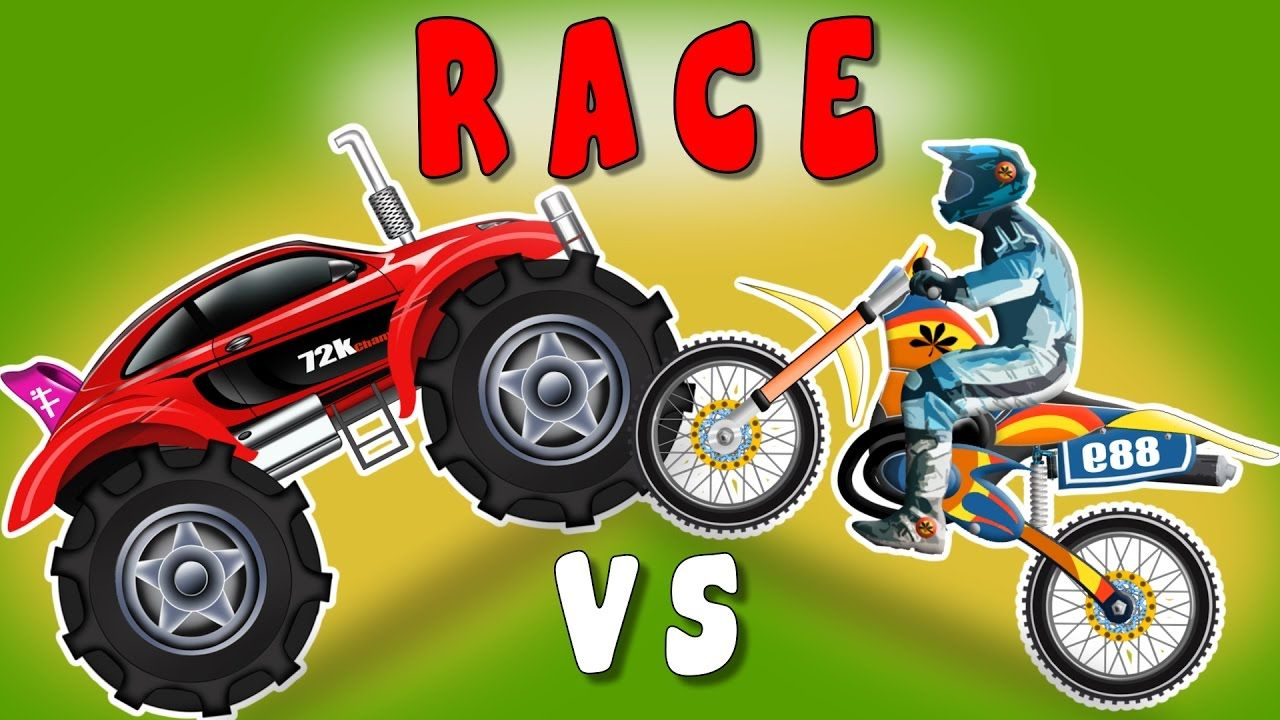 Sports Car Monster Truck VS Sports Bike | Racing Cars | Video for ...