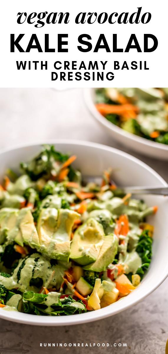 Avocado Kale Salad With Creamy Basil Dressing