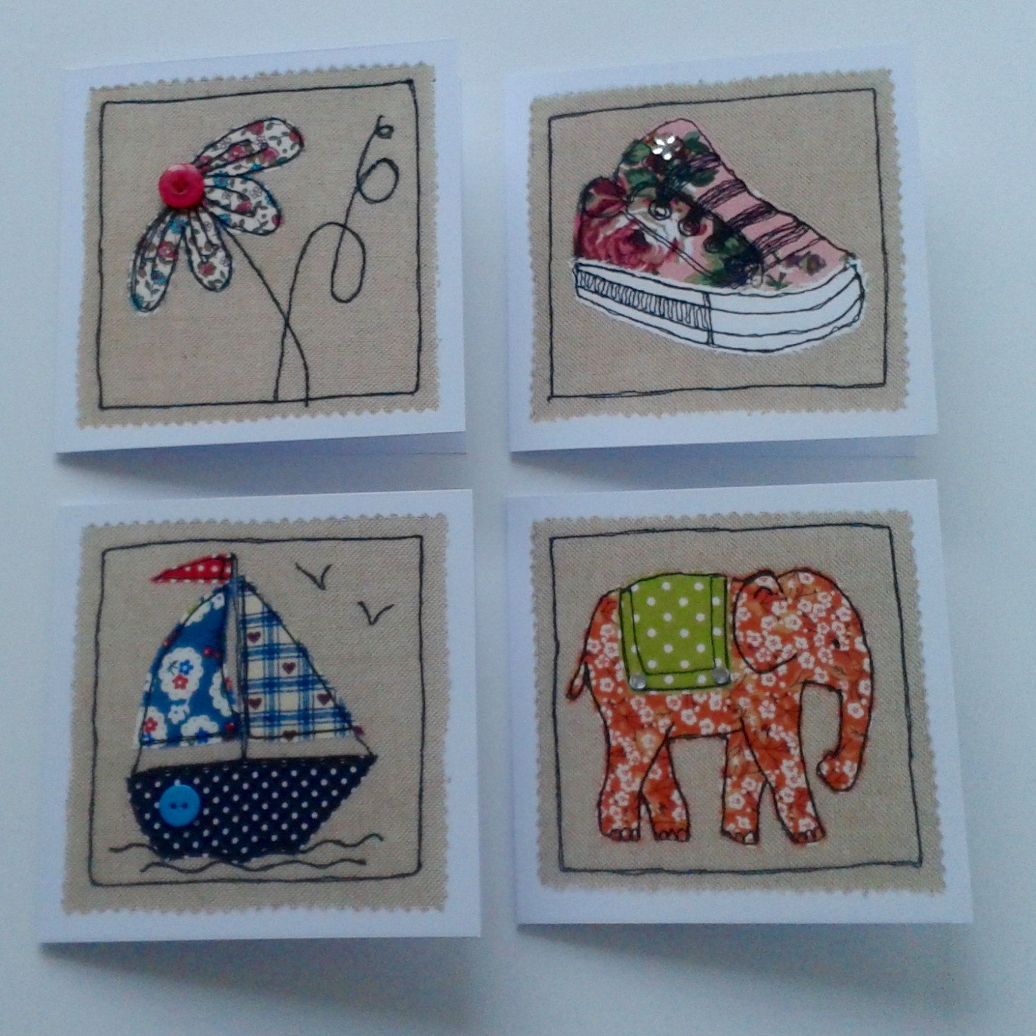 Set of 4 greetings cards generic all occasion cards machine set of 4 greetings cards generic all occasion cards machine embroidery free motion kristyandbryce Image collections