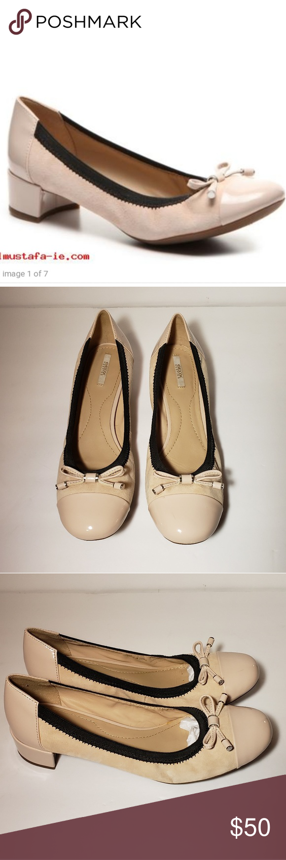 Geox pump respira carey court shoes patent leather in black