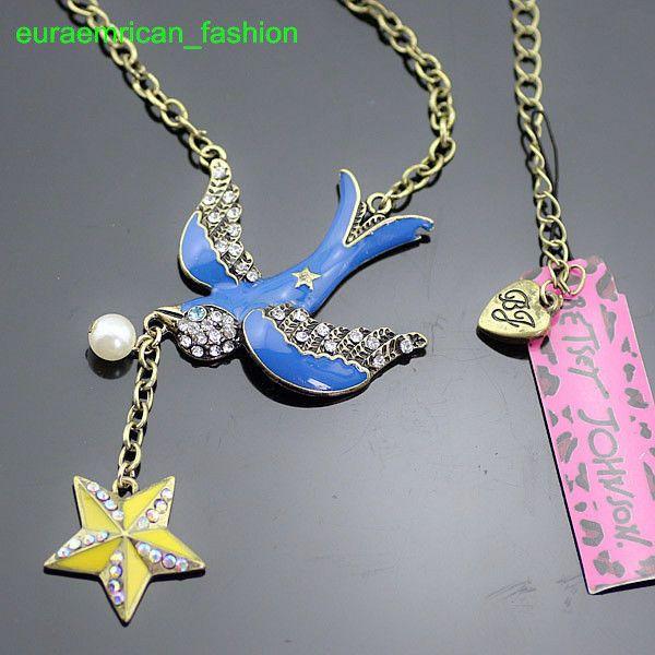 BJN90 Betsey Johnson Blue Bird Yellow Star Pendant Vintage Bronze Chain Necklace #BetseyJohnson #Pendant