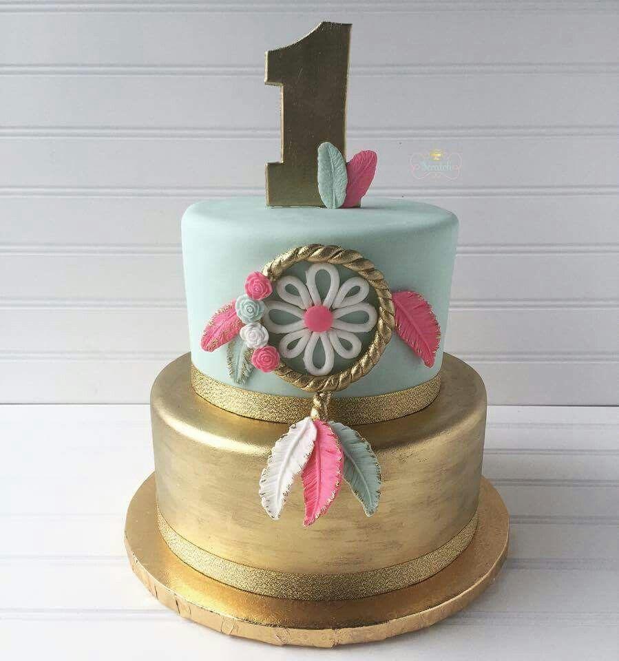 Pow Wow Cake Beautiful Gold And Mint Boho Chic Cake Love This Gold Tribal Party Cake Boho Birthday Party Boho