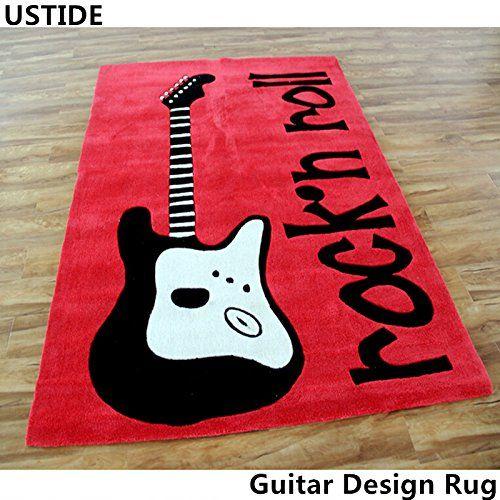 Ustide Guitar Rug Handmade Rug Wearproof Durable Floor Carpet Art Area Rug  Cheap Modern Carpet Soft