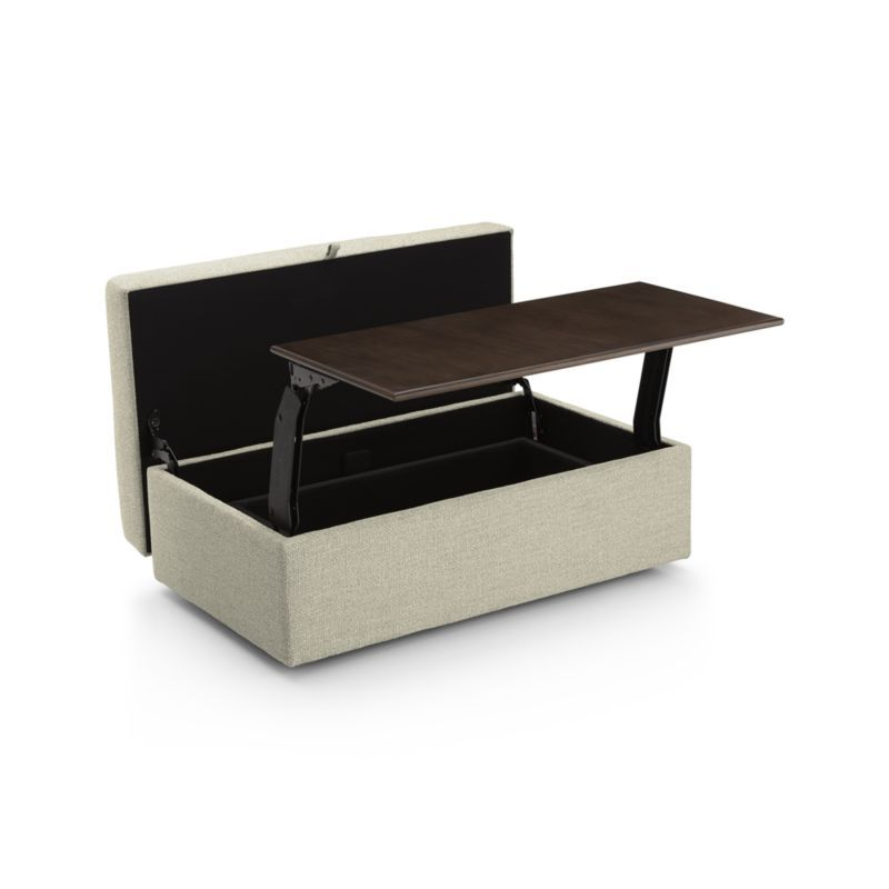 Lounge Ii Storage Ottoman With Tray In 2020 Crate Barrel