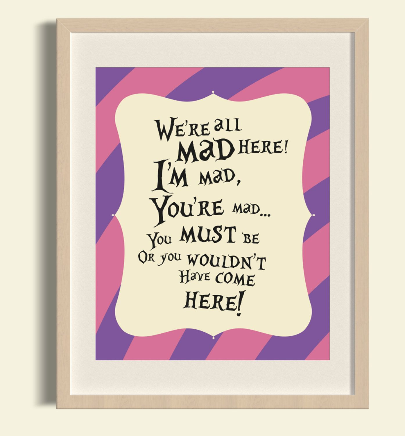New To FloxCreative On Etsy Were All Mad Here Instant Download JPEG PDF