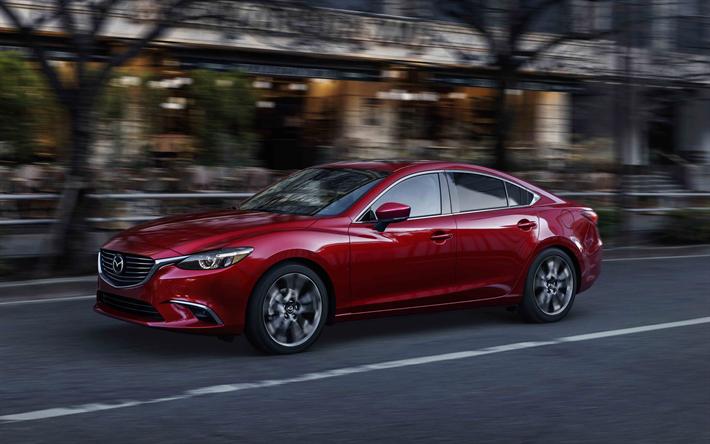 Herunterladen Hintergrundbild Mazda 6 4k 2017 Limousine Rot