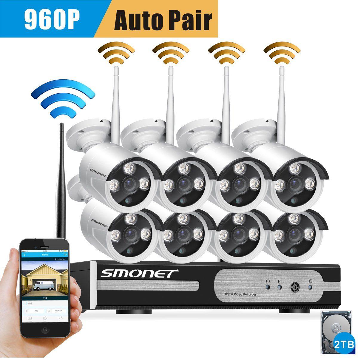 Smonet 8ch 960p Hd Wireless Network Ip Security Camera System Wifi Nvr Kit Wireless Surveillance Camera Outdoor Security Camera Wireless Security Camera System