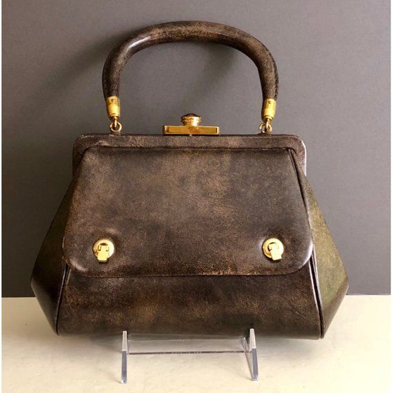 Vintage Milch Brown Leather Frame Structured Handbag Purse Pocketbook with  Brass-Toned Hardware a788a499f5c9