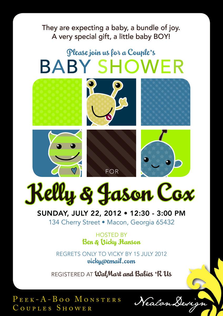 Nealon Design: Peek-A-Boo Monsters BABY SHOWER Invitation | Johnnys ...