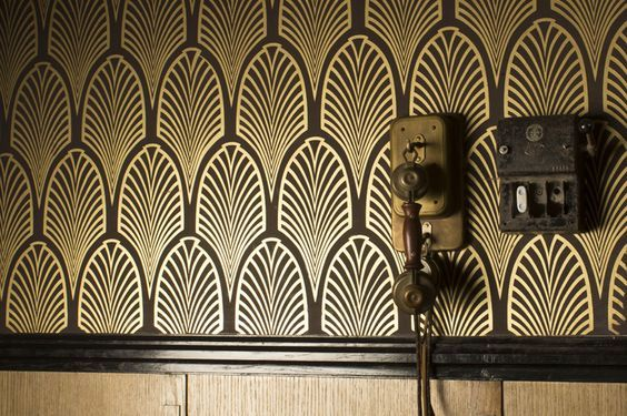 Art Deco Wall Coverings In Dramatic Black And Metallics