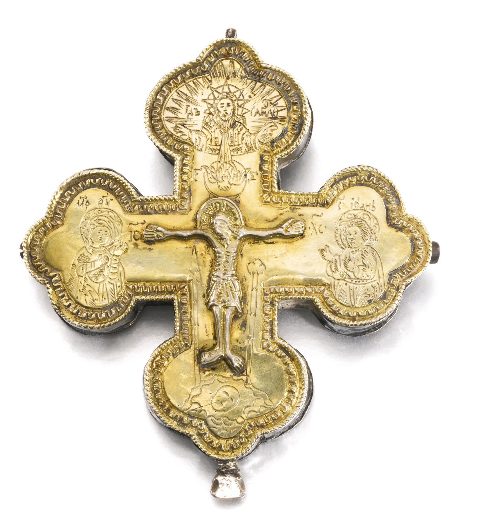A parcel-gilt silver reliquary cross, 18th century | lot | Sotheby's